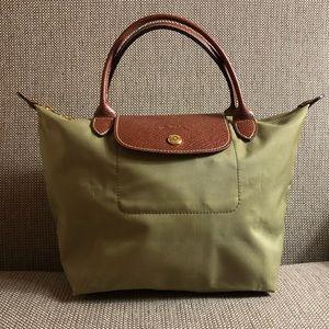 Longchamp green tote bag short strap handbag